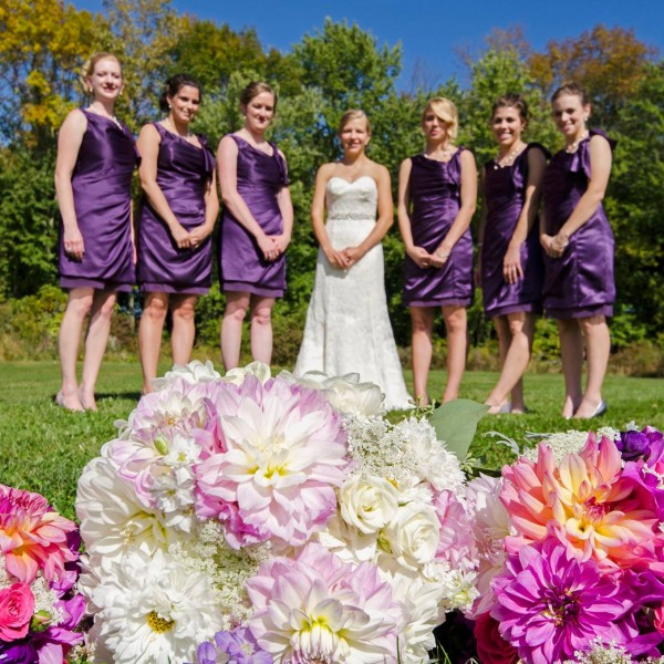 "an Ultra Violet wedding at Waters Edge, Louisville, OH. Dahlias, Zinnias, locally grown by florist t""he Garden by the Gate"""