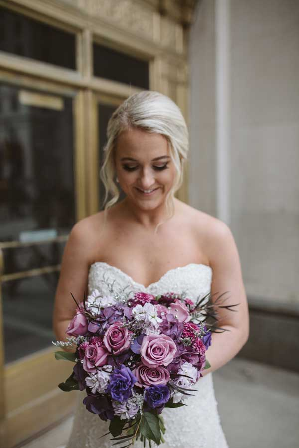UltraViolet bridal bouquet by the Garden by the Gate Floral Design, North Canton. Image by Lea Marie Photography