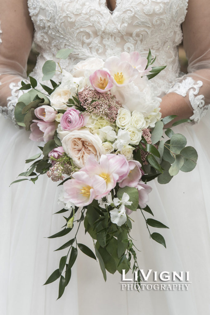 Cascading bridal bouquet by Garden by the GAte Floral Design, North Canton, Photo-Livigni PHotography