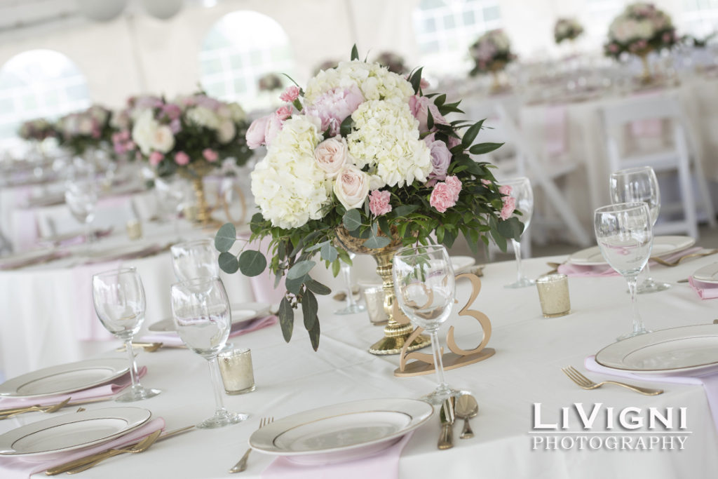 Floral wedding centerpieces by Garden by the Gate Floral Design, North Canton