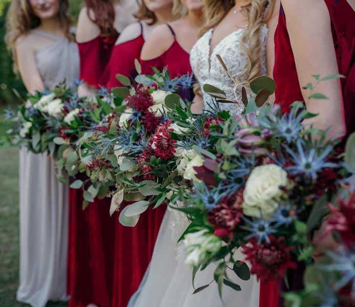 Dusty blue and burgundy wedding flowers by Garden by the Gate Floral Design, North Canton