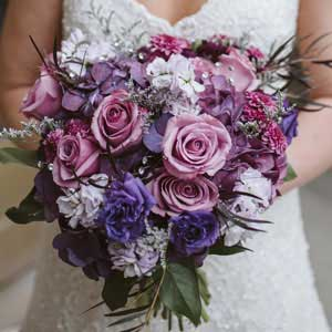 Lavender and purple brides bouquet by Garden by the Gate Floral Design