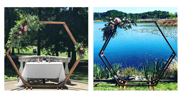 Rent this hexagonal wooden wedding arch from Garden by the Gate Florist